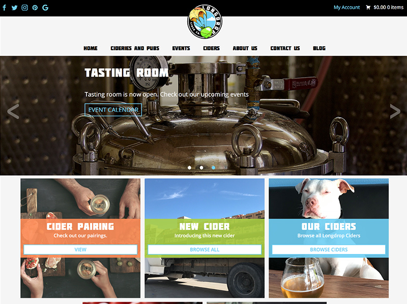 Long Drop Cider website home page