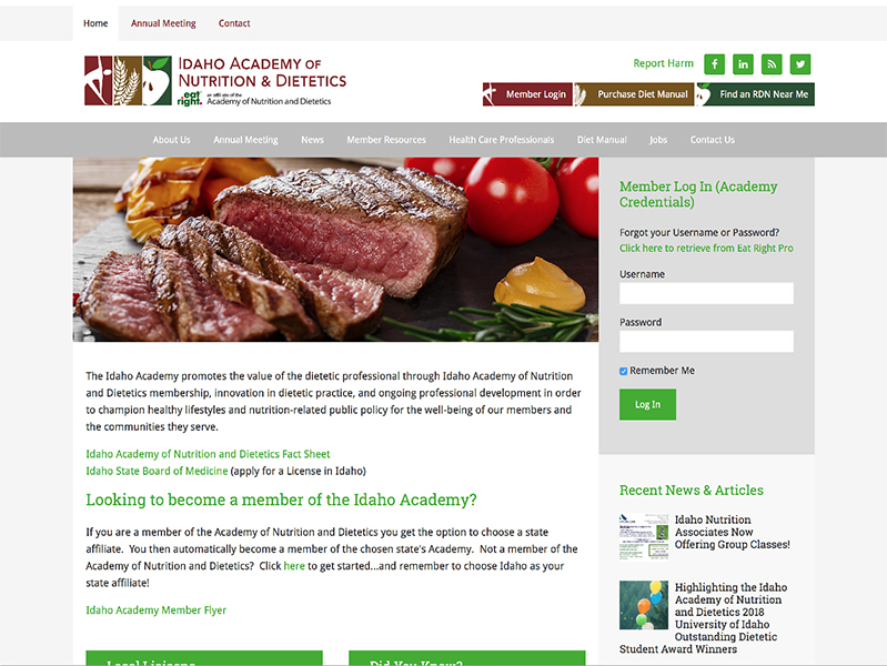 Eat Right Idaho website home page