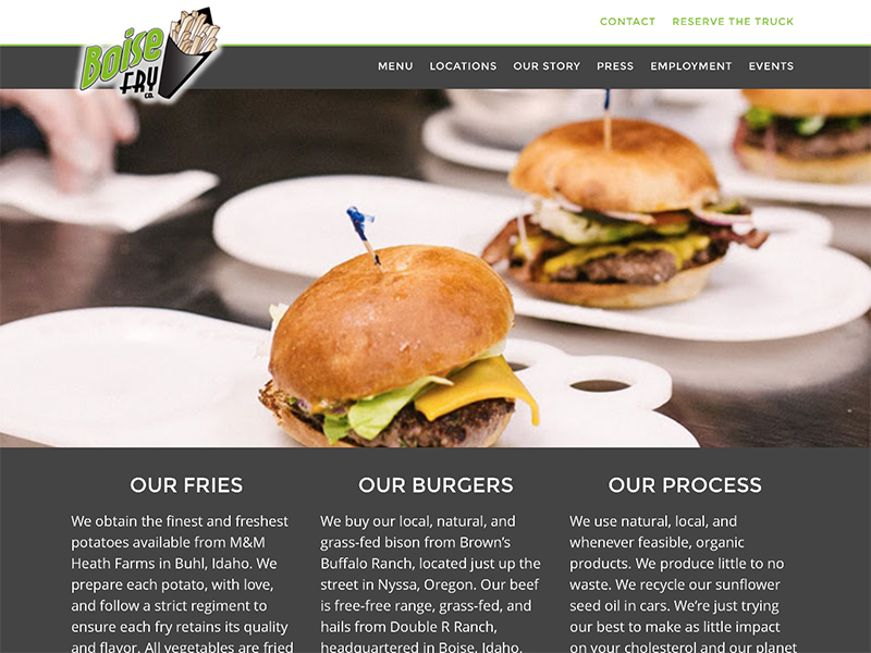 Boise Fry Company website home page