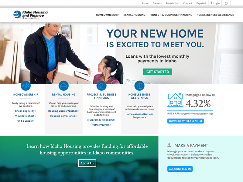 Idaho Housing website home page