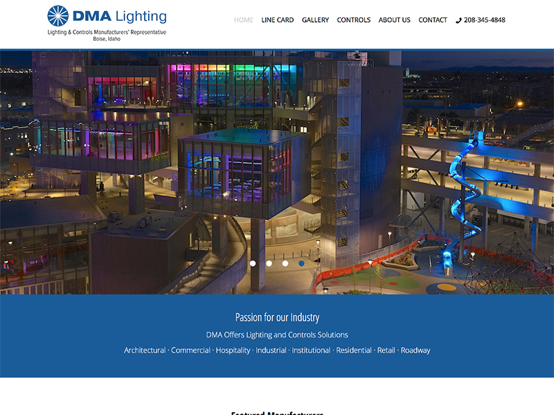 DMA Lighting website home page
