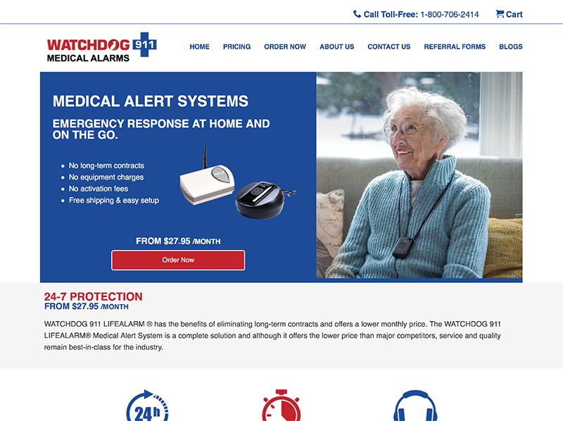 Watchdog 911 Medical Alert website home page