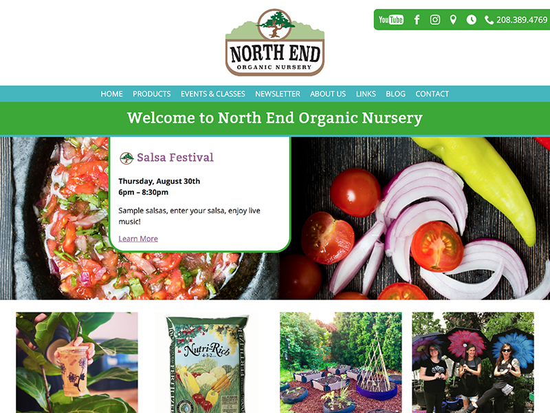 North End Nursery website home page