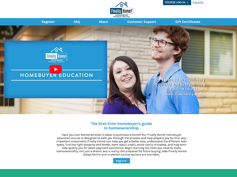Finally Home! Online Homebuyer Education website home page