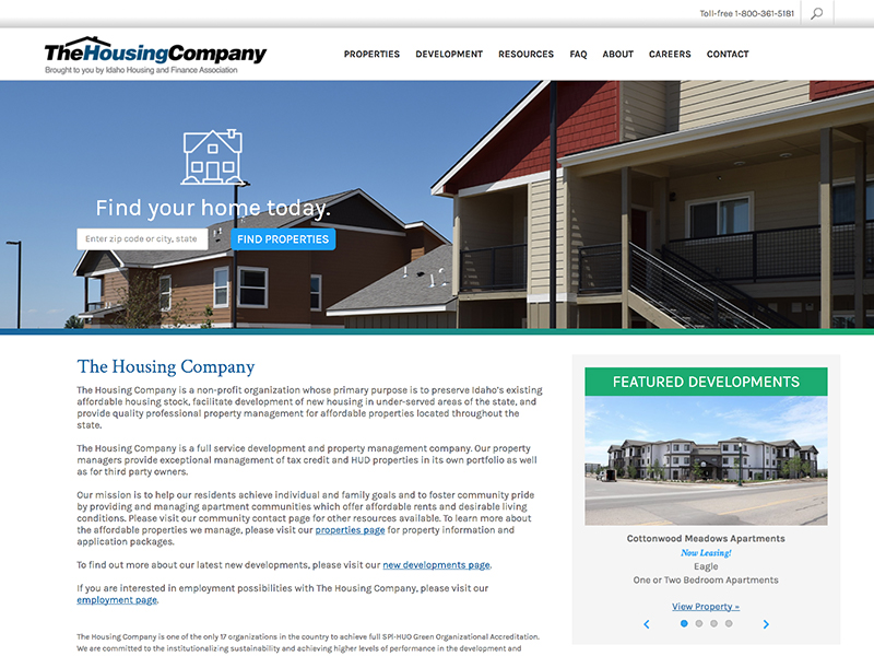 The Housing Company website home page