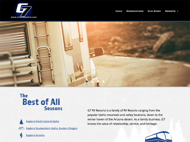 G7 RV Resorts website home page