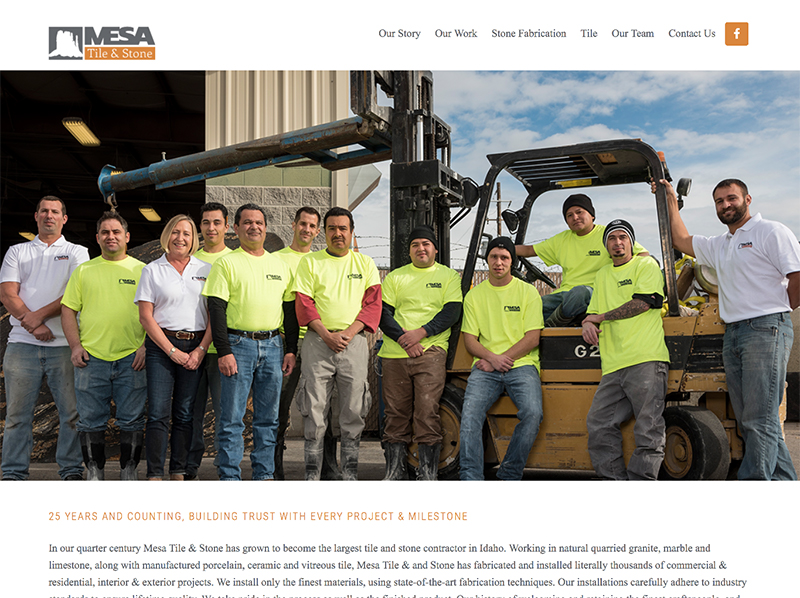 Mesa Tile and Stone website home page