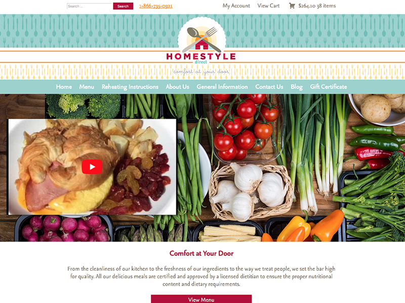 Meal deliver business website home page