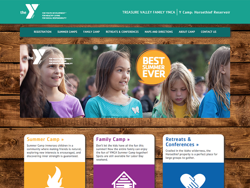 YMCA Summer Camp website home page