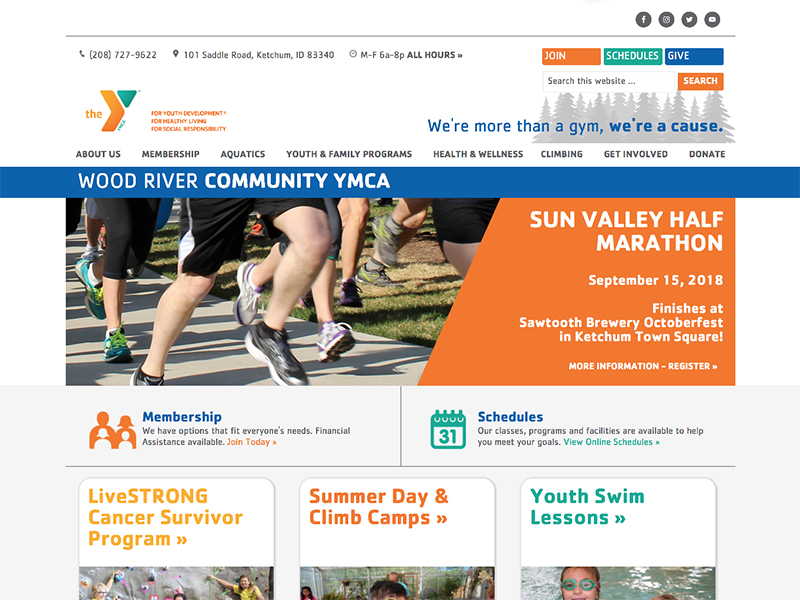 Wood River YMCA website home page