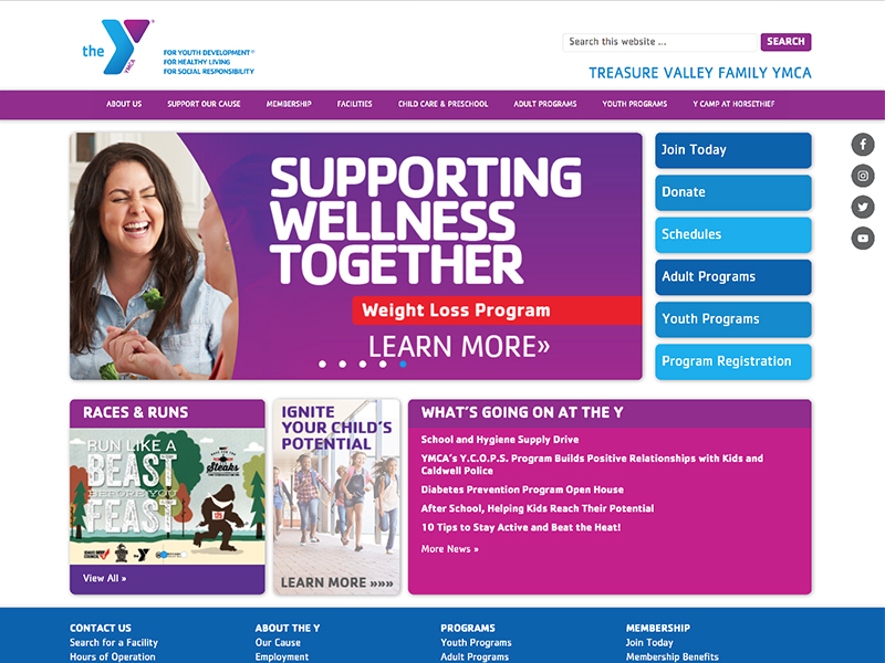 YMCA website home page