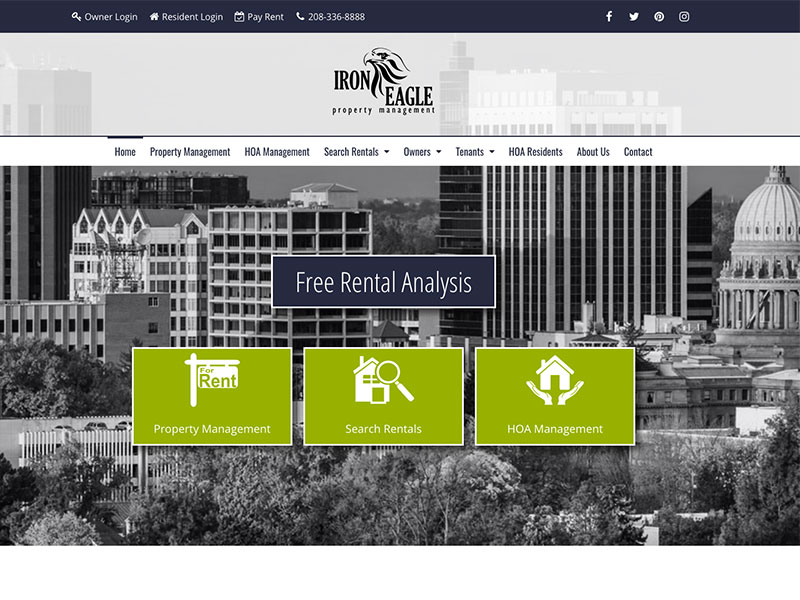 Property Management website home page