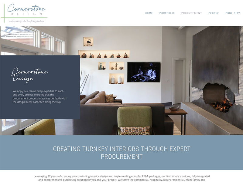 View of interior design website home page