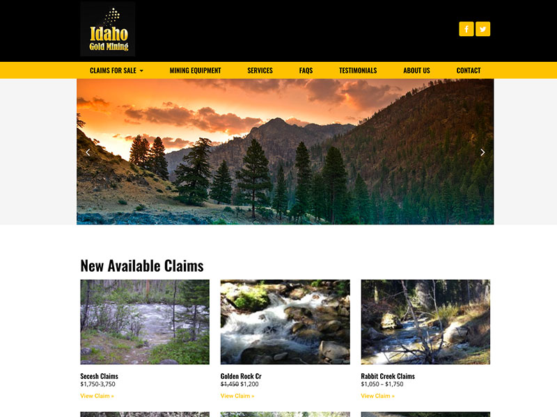 home page view of gold mining website